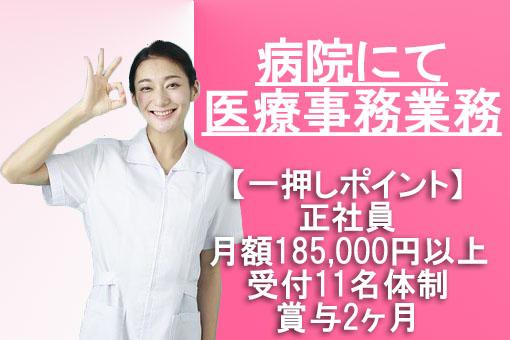 受付の人数体制が多い病院にて正社員として医療事務のお仕事♪月給185,000~250,000円!賞与2ヶ月 イメージ